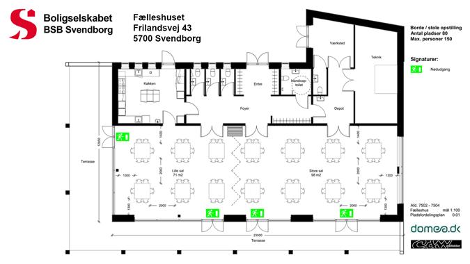 Fælleshusets pladsfordelingsplan